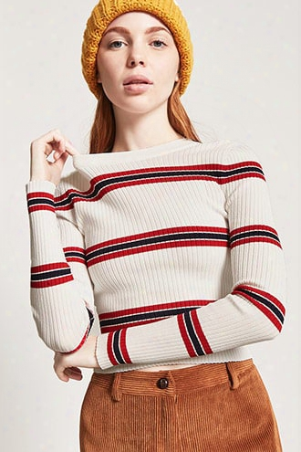 Striped Sweater-knit Top