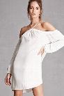 Crinkled Open-Shoulder Dress