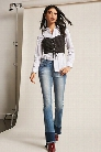 Denim Flare Frayed Jeans