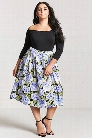 Plus Size Floral Satin Pleated Skirt