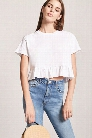 Raw-Cut Ruffle Hem Top
