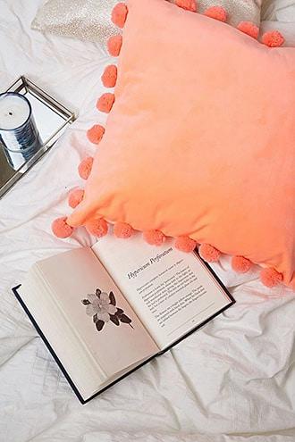 Velvet Pom Pom Throw Pillow
