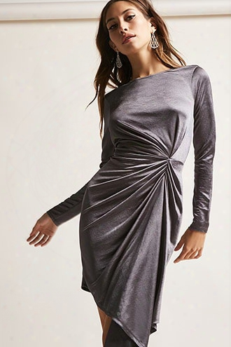 Asymmetrical Satin Ruched Dress