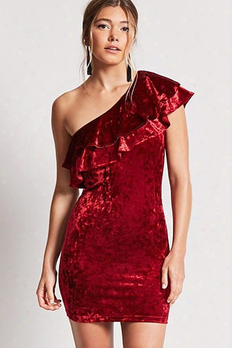 Crushed Velvet One-shoulder Dress
