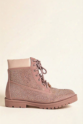 Embellished Faux Suede Ankle Boots