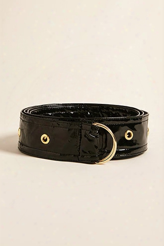 Faux Patent Leather D-ring Belt