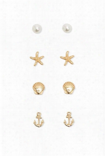 Faux Pearl & Etched Stud Set