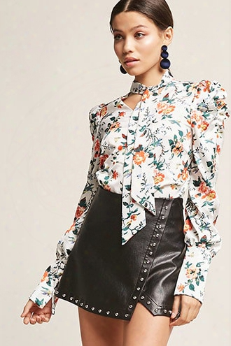 Floral Pussycat Bow Top