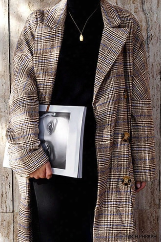 Glen Plaid Faux Fur Cuff Coat
