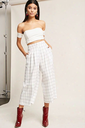 High-waist Grid Culottes