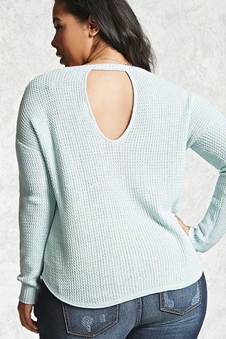 Plus Size In A ~ward Direction Cutout Sweater