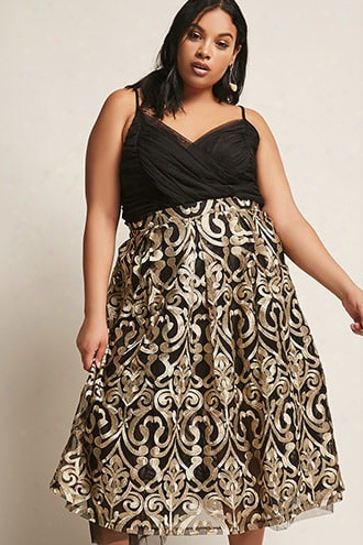 Plus Size Eta High-waist Baroque Mesh Overlay Midi Skirt
