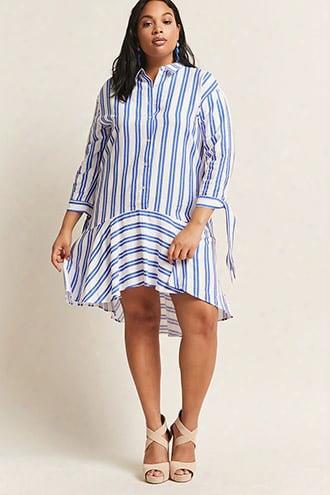 Plus Size Eta Striped High-low Shirt Dress