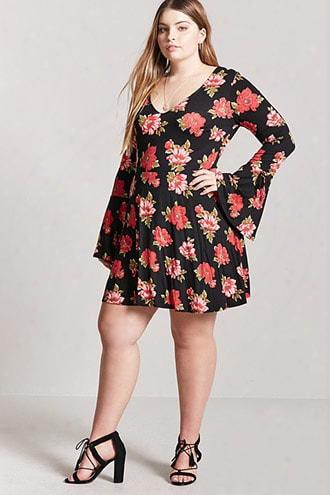 Plus Size Floral Print Mini Skater Dress