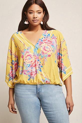 Plus Size Floral Print Surplice Top