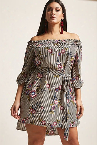 Plus Size Floral Stripe Off-the-shoulder Top
