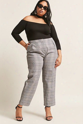 Plus Size Glen Plaid Ankle Pants