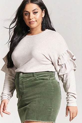Plus Size Marled Tiered Ruffle Top