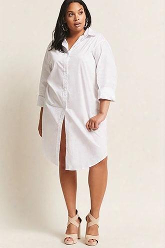 Plus Size Poplin Shirt Dress
