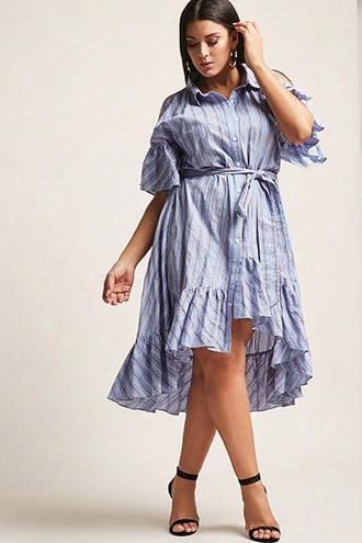 Plus Size Stripe Open-shoulder High-low Shirt Dress