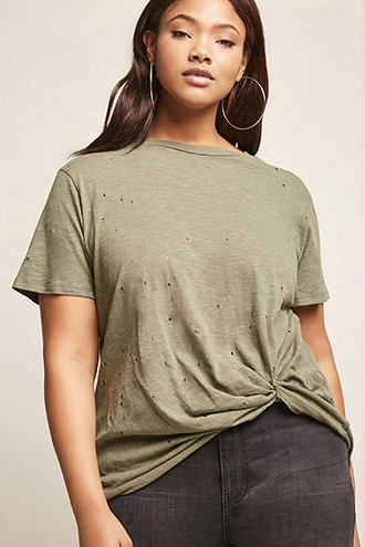 Plus Size Tattered Slub Knit Tee