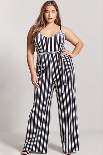 Plus Size Velvet Stripe Jumpsuit