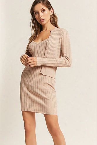 Ribbed Cardigan & Cami Dress Set