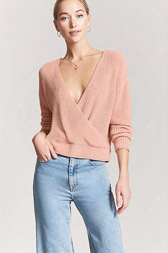 Ribbeds Weater-knit Surplice Top