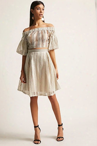 Shadow Stripe Crop Top & Skirt Set