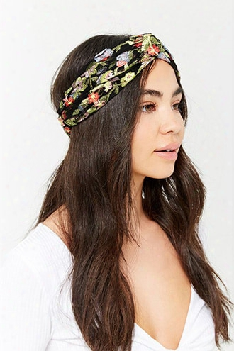 Sheer Mesh Floral Embroidered Headwrap