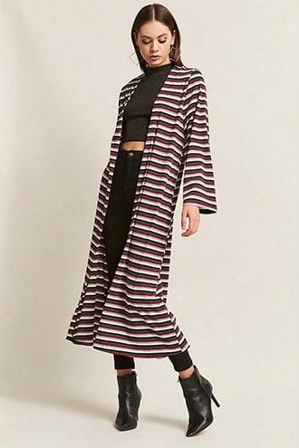 Stripe Open-front Longline Cardigan