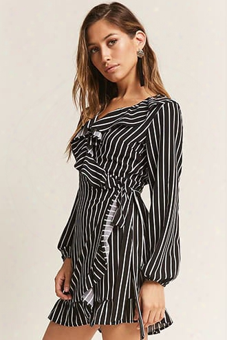 Stripe Ruffle Wrap Dress