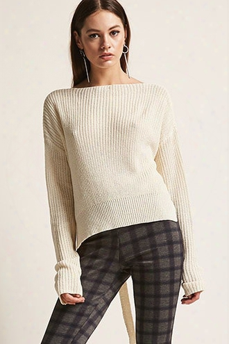 Sweater-knit Tie-front Top
