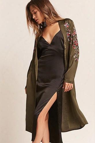 Textured Satin Floral Kimono