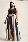 Plus Size Box Pleat Colorblock Maxi Skirt