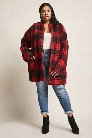 Plus Size Open-Front Flannel Jacket