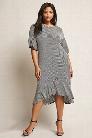 Plus Size Stripe Flounce Hem Dress