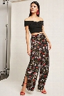 Vented Floral Wide-Leg Pants