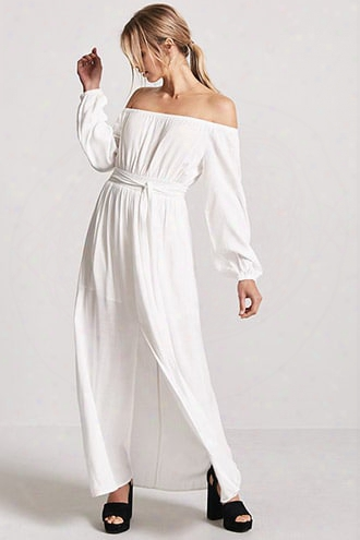 Woven Off-the-shoulder Maxi Dress