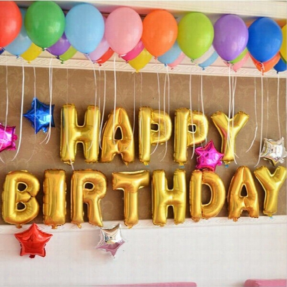 13pcs/lot 16inch Aluminum Foil Membrane Happy Birthday Party Balloons Letter Balloons Party Decoration