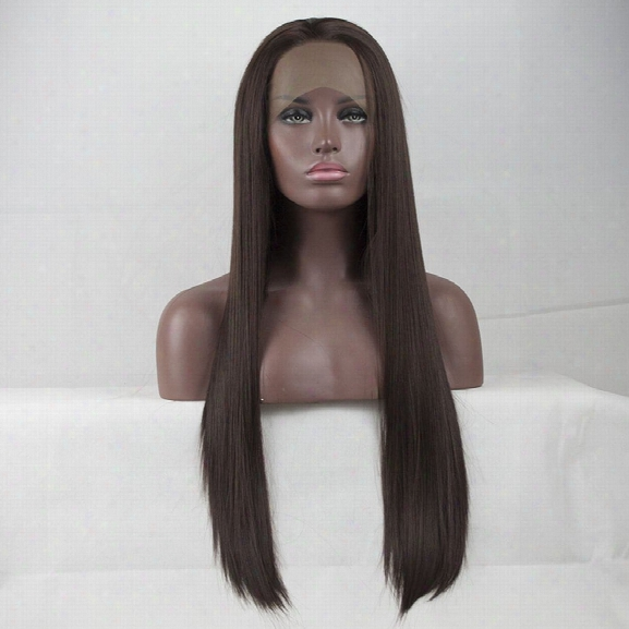 14 - 24 Inch Long Kinky Straight Dak Brown Heat Resistant Synthetic Hair Lace Front Wigs For Black Women