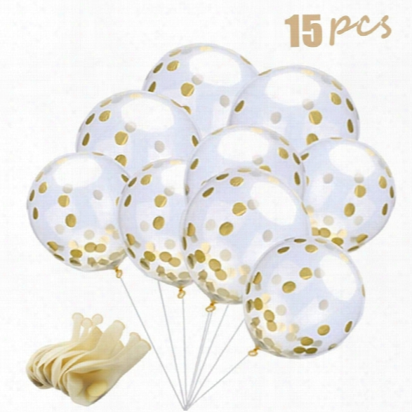 15 Pieces Gold Confetti Balloons 12 Inches Party Balloons With Golden Paper Confetti Dots For Party Decorations Wedding