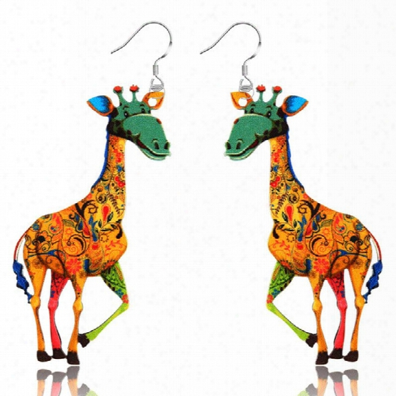 2017 New Fashion Jewelry Brand Cartoon Animal Happy Prairie Story Series Lovely Giraffe Drop Earrings For Women