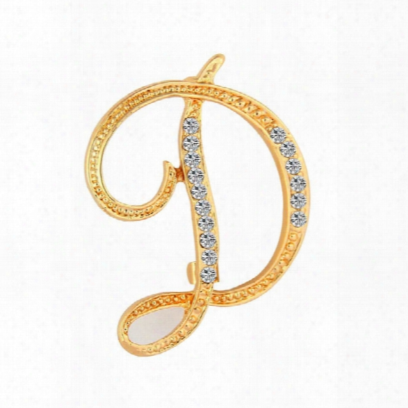 2017 New Fashion Jewelry Classic 26 Letters Brooches Metal Gold Color Crystal Pins Clothing Accessories For Women