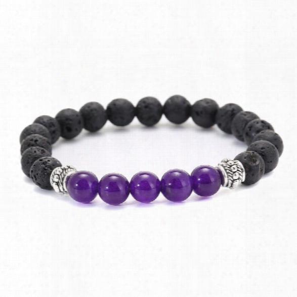 2018 New Bracelet 8mm Volcanic Stone Beads Bracelets Fashion New Beautiful Jewelry For Women Men Party Gift Jewelry