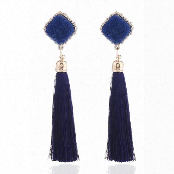 2018 New Design Acrylic Cotton Earrings Classic Long Tassel Dangle Earrings For Women Pendant Earrings Statement Jewelry