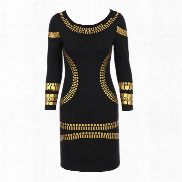 2018 Women Elegant Vintage Sexy Slim Gold Printed Cotton Long Sleeve Casual Bodycon Club Pencil Dress