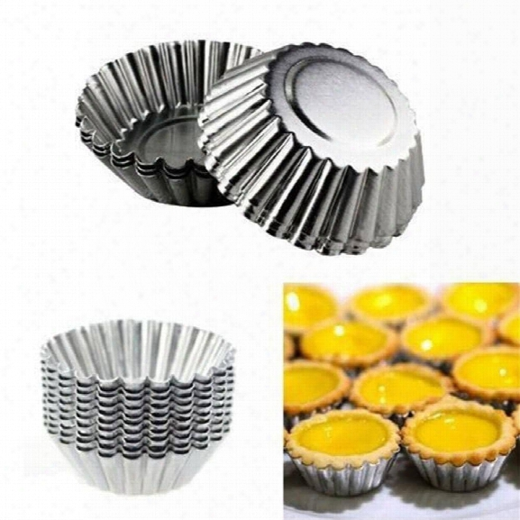 20pcs Reusable Egg Tart Aluminum Mould Cupcake Cookie Round Cake Pudding Chocolate Baking Muffin Tin Mould 7cm Diameter