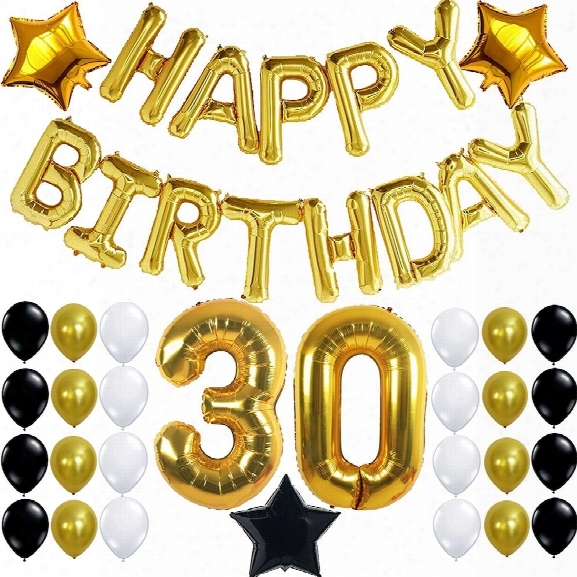30th Birthday Party Decorations Kit Happy Birthday Letters 30th Gold Number Balloons Gold Black And White Latex Balloons