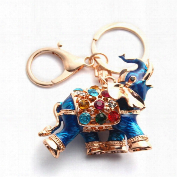 3d Auspicious Elephant Key Holder Chains Whole Enamel Colorful Crystal Bag Pendant Keyrings Keychains For Women